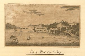 "Image of walled city by the water with hills in the background. Title reads ""For the American Universal Magazine"". Captioned ""City of Algiers, from the Bay"" in handwriting."