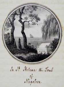 "Image of a tomb nestled under trees, with a sailing ship in the background. Captioned ""In St. Helena the Tomb of Napoleon"" in handwriting."