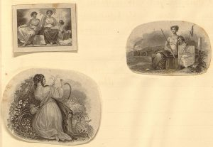 Three clippings. Top left shows three women, one holding painting instruments and one holding a book. Bottom left shows a woman harvesting grain. Center right shows a woman seated holding a sword and shield.