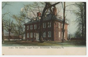 "Image of brick mansion. Titled ""G 257 a. The Stenton, 'Logan House', Germantown, Philadelphia, Pa."""