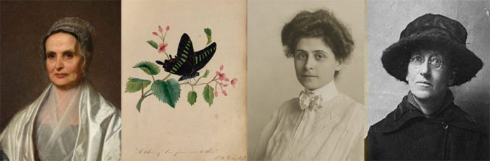 Images of Lucretia Mott (Friends Historical Library, Swarthmore College); page from the friendship album of Amy Matilda Cassey (Library Company of Philadelphia); Caroline Katzenstein (Historical Society of Pennsylvania); Emily Greene Balch (Peace Collection, Swarthmore College)