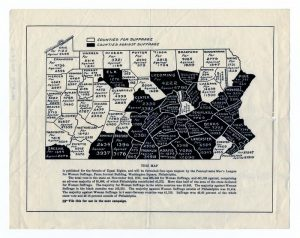 map showing that visually almost half of Pennyslvania's counties voted for woman suffrage in 1915. The total votes were 385,348 for and 441,034 against., with Philadelphia contributing an adverse majority of 45,442.