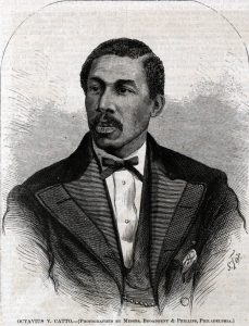 Black and white drawing of Catto in 3/4 profile, wearing a suit.