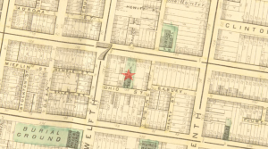 Map showing the Ohio Street School located near the corner of Twelfth and Ohio streets.
